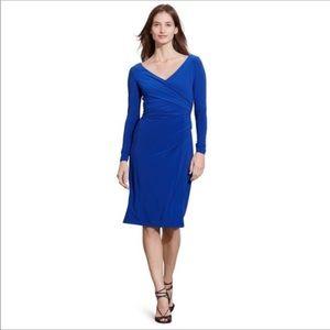 Ralph Lauren ruched emerald blue dress